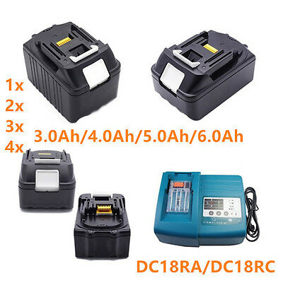18V 3.0-6.0Ah Battery Lithium Ion For Makita BL1830 BL1840 BL1850 LXT + Charger