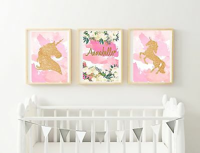 Unicorn Set of 3 Nursery Print - Personalised (Receive a PDF) Baby Girl Decor