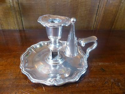 ANTIQUE OlD SHEFFIELD Silver Plate CHAMBERSTICK with SNUFFER - hand mark