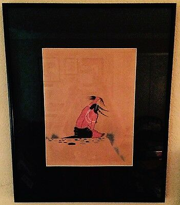 Original Woody Bigbow Early Painting Kiowa Native American Matted &  Framed