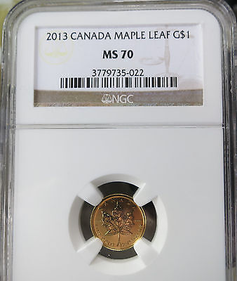 2013 Canada 1/20 oz. Gold $1 Maple Leaf NGC MS 70