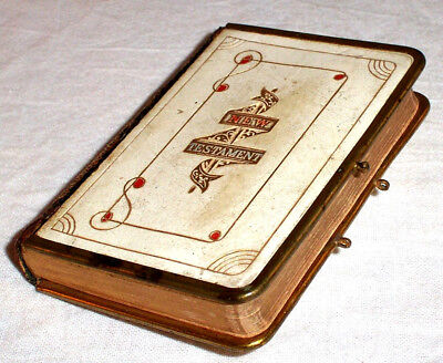 ca.1910 Small Bible NEW TESTAMENT Celluloid Leather & Brass Binding , King James