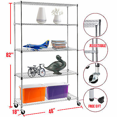 "82""x48""x18"" Adjustable Heavy Duty 5 Tier Wire Shelving Rack Steel Shelf Chrome"