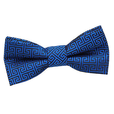 New Dqt High Quality Greek Key Boys Pre-Tied Bow Tie - Royal Blue