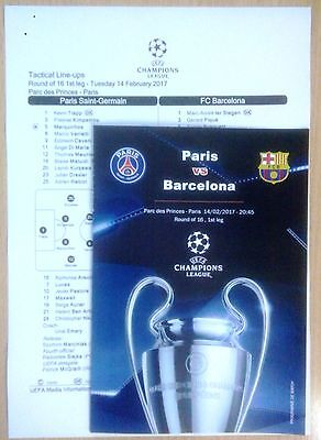 PSG Paris France BARCELONA Spain Cataluna 2017 CHL programm + official linesup