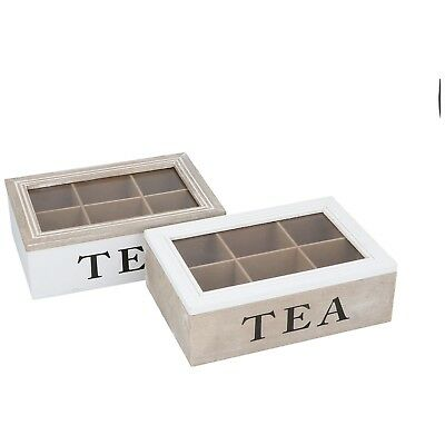 Shabby Chic Retro Wooden Mdf Tea Box Organiser With 6 Sections Storage Glass Lid