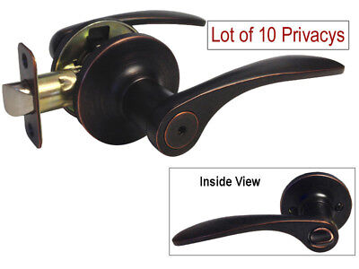 Lot of 10 Privacy Dark Oil Rubbed Bronze bedroom bathroom Door lever free ship