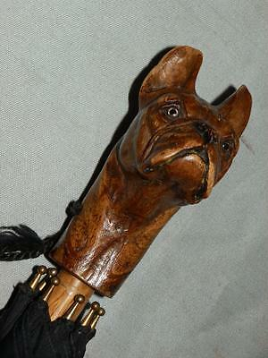 "Antique Hand Carved ""French Bulldog"" Head Ladies  ""Brigg London"" Umbrella"