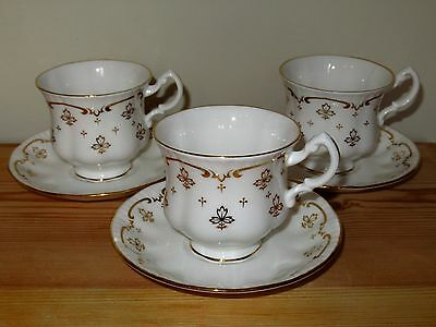 Three Vintage Royal Osborne China Teacup And Saucer Duos Gold White Leaf Design