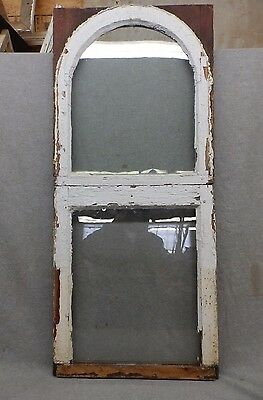 Antique Window Arch Double Hung Sash Tombstone Shabby Cottage Chic Vtg 124-17R