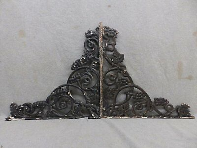 Pair Antique Cast Iron Grapevine Shelf Corbels Brackets Old Vtg Hardware 125-17R