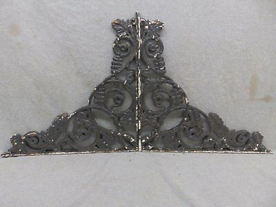 Pair Antique Cast Iron Grapevine Shelf Corbels Brackets Old Vtg Hardware 126-17R