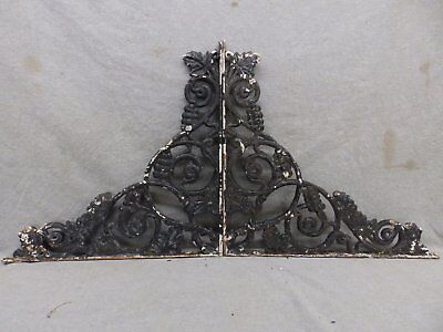 Pair Antique Cast Iron Grapevine Shelf Corbels Brackets Old Vtg Hardware 127-17R