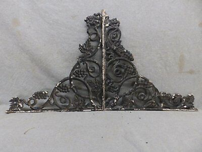 Pair Antique Cast Iron Grapevine Shelf Corbels Brackets Old Vtg Hardware 128-17R