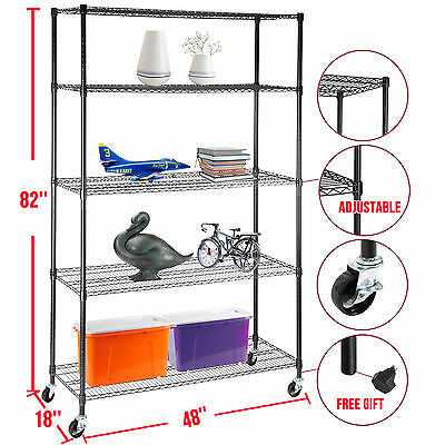 "82""x48""x18"" Heavy Duty 5 Tier Adjustable Layer Wire Shelving Rack Steel Shelf"