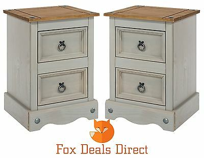 Bedside Cabinets Corona Grey Washed PAIR Of Solid Pine 2 Drawer Bedroom Tables