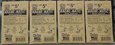 Lot of 4 Packs of HO Scale KADEE # 5 MAGNE-MATIC Metal Couplers 2 Pair per pack
