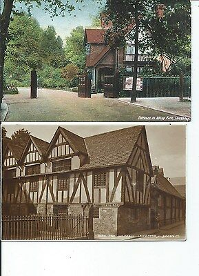 LEICESTER Lot 2 early Postcard Guildhall & Abbey Park Entrance