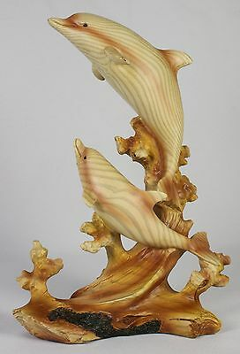 JUMPING DOLPHIN PAIR FAUX WOOD CARVING Figure Statue NEW Ocean Sea Wildlife Fish