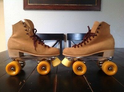 Awesome! Vintage Condition Riedell Suede Leather Skates Size 6 Sure Grip Labeda