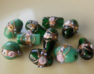 10 x green large lampwork flower and gold decorated pretty glass beads.