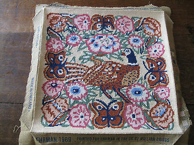 Pheasant Completed Embroidered Panel Tapestry Picture Pheasants Seat Covering
