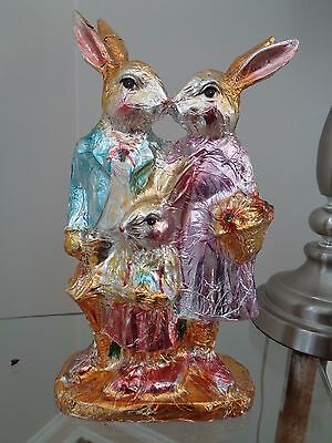 Bella Lux Lg. Faux Chocolate Foil Easter Bunny Rabbit Family Figurine Decor New