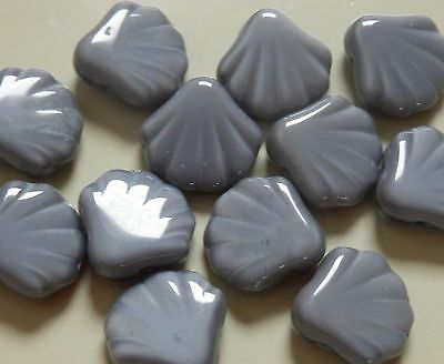 12 x 14mm quality Czech grey pressed glass clam shell shaped beads
