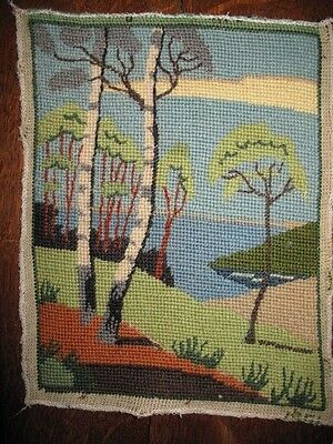 Vintage embroidery of trees and landscape hand stitched tapestry