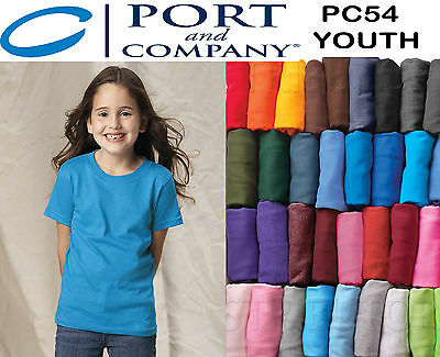 110 Blank Port & Company PC54 Youth Plain Any Color Kids T-Shirt Lot Wholesale