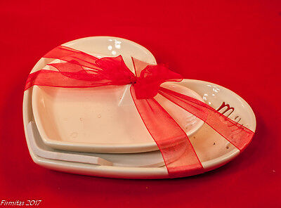 """Valentine Day Large Small Heart Shape Candy Nut Relish Dishes White New """"Mine"""""""