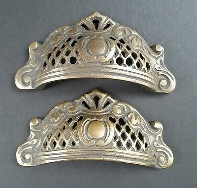 2 Solid Antique Brass Apothecary Victorian Bin Cup Finger Pulls Handles #A11
