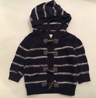 Next Baby Boys Navy White Stripe Hoodied Cardigan Jacket With Toggles,6-9 M,GC