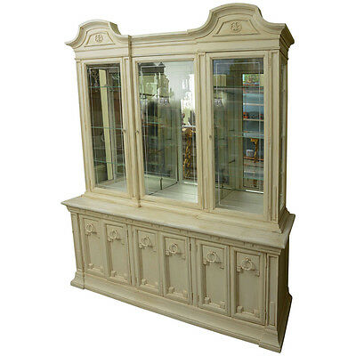Vintage Cream Hand Painted Display Cabinet,Bookcase or Server Antique Style