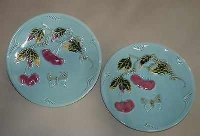 Vintage Majolica Set of 2 ZELL 7 3/4 Inch CHERRY & Butterfly Plates GREAT