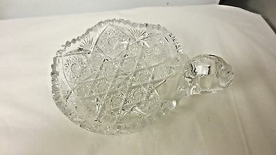 Vintage Pressed Glass Nappy or Candy Bowl-Sawtooth Edge-Hobstar