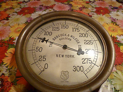 Large Antique Brass & Cast Iron 0 to 300 #  Babcock & Wilcox Co. Steam Gauge