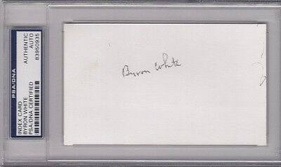 Byron Whizzer White Signed Index Card Autographed Lions US Supreme Court PSA/DNA