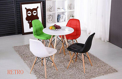 Round Dining table and 4 leather chairs retro DSW DSR Eiffel