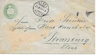 Switzerland 1877 - PS Basel Dove, Dove watermark on front of envelope. Peace