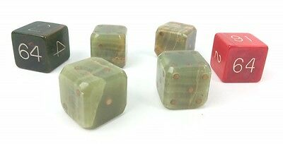 "Fab Asprey Bond St Set of (4) Backgammon Dice & Pair of Doubling 7/8"" Cubes"