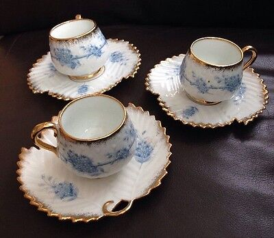 Antique Porcelain Demitasse Coffee Cups and Saucers