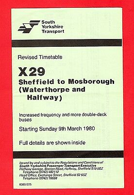 Bus Timetable - South Yorkshire PTE X29 - Sheffield to Mosborough Halfway - 1980