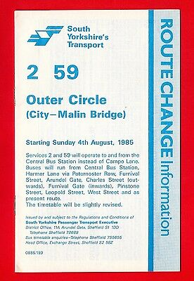 Sheffield Bus Timetable - South Yorkshire PTE 2 & 59 - Outer Circle - 1985