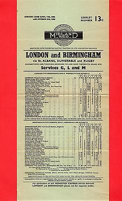 Timetable - Midland Red Coach Services G, L & M - Birmingham Rugby London - 1960