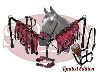 Showman LIMITED EDITION 5 Piece PINK fringe set! NEW HORSE TACK!