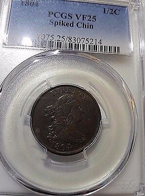 1804 PCGS VF25 Spiked Chin Draped Bust Half Cent Free Ship!