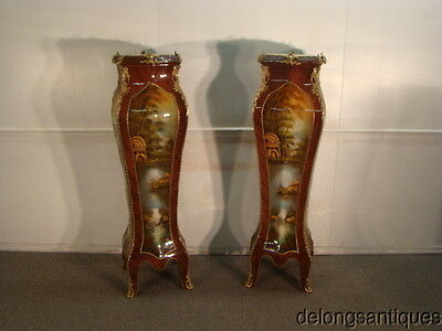 42856:Pair of Hand-Painted Marble-Top French Style Pedestals