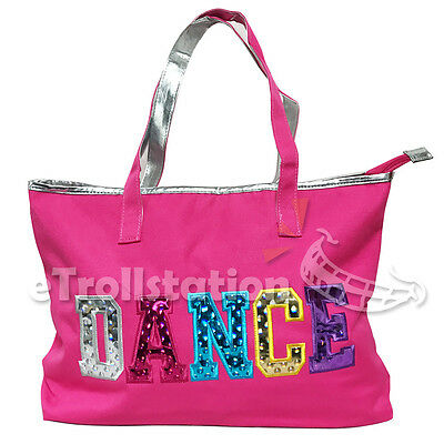 Youth Girls Dance Swim Tote Bag Ballet Pack Multicolored Dance Print Pink Silver