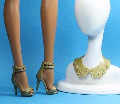 Barbie Gold High Heel Double Strap Ankle Wrap Sandals Shoes Necklace